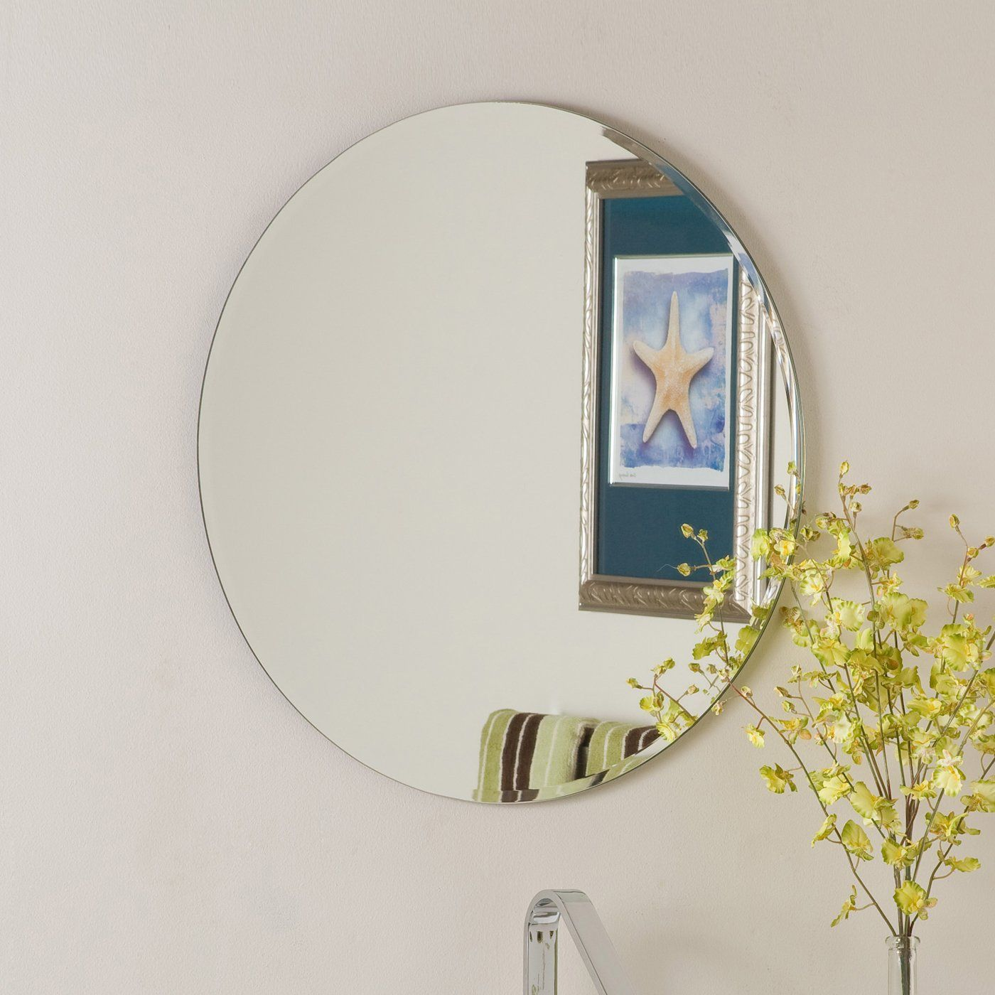 Photos On Shop Decor Wonderland SSM Frameless Round Beveled Mirror at ATG Stores Browse our bathroom mirrors