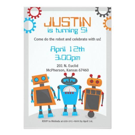 Kids robot birthday party invitations robot birthday party kids robot birthday party invitations filmwisefo Gallery