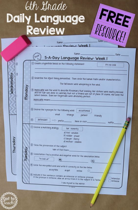 Printable Worksheets sixth grade vocabulary worksheets : A free daily language review for 6th grade. Review important ...