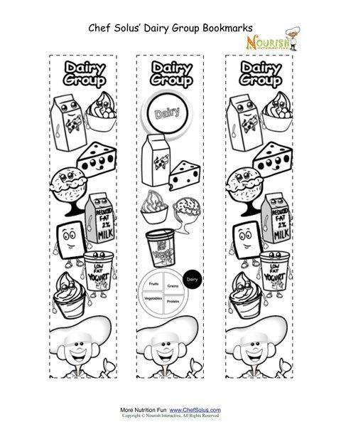 Childrens coloring activity that promotes the food groups Kids