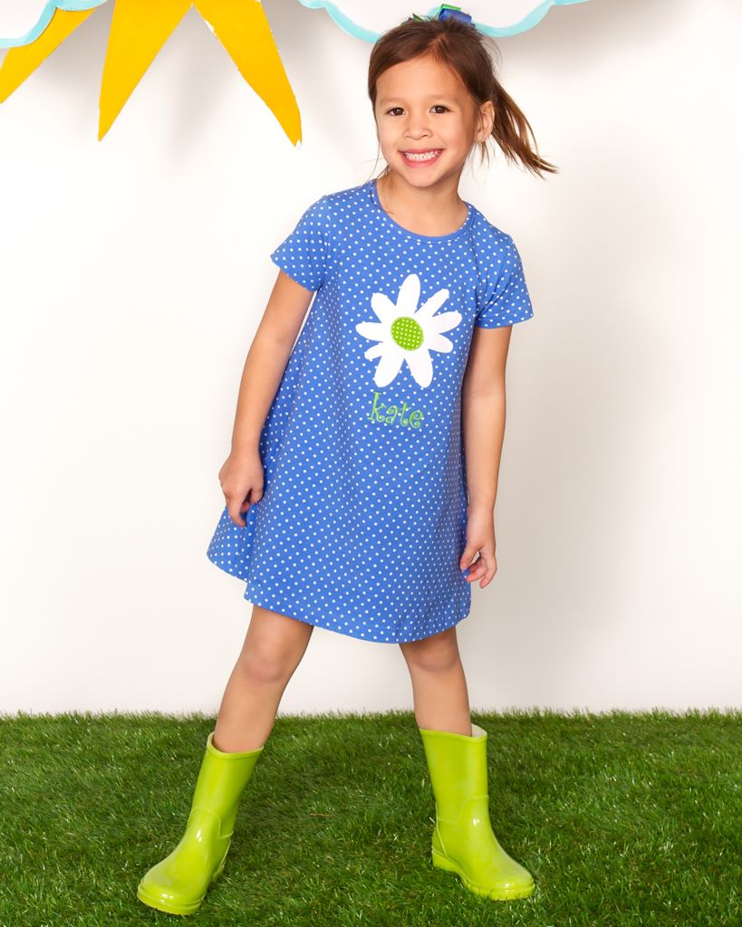 Swing into spring in this cute a-line shift with an adorable daisy and monogram!