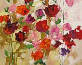 Large Floral Giclee Print of Abstract or Impressionist Flower Painting Scarlet Roses by Linda Monfort
