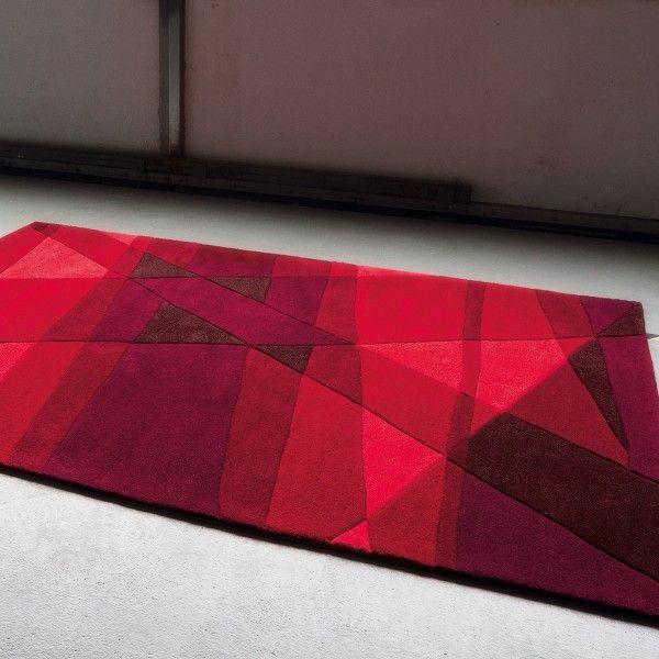 Magnifique Tapis Rectangulaire Rouge Decoration Francaise