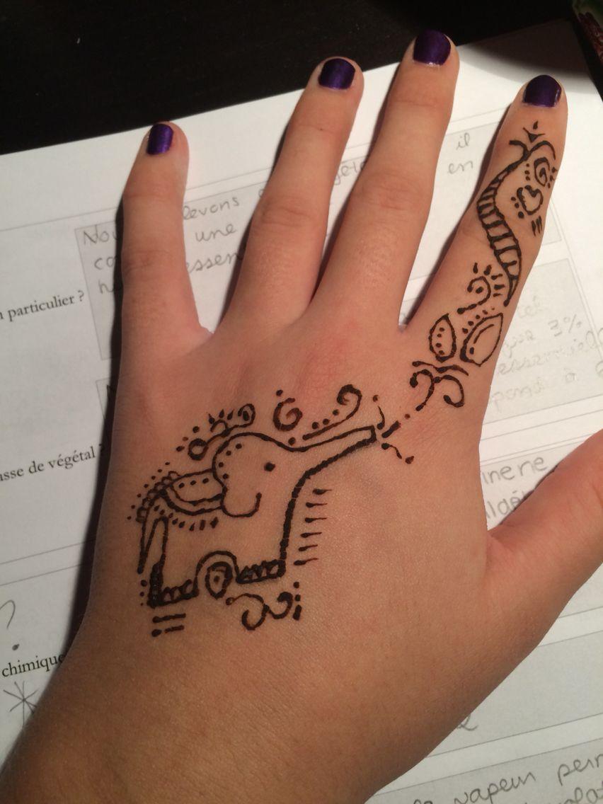 Henna Tattoo Vs Real Tattoo: Simple Elephant Design With Henna !