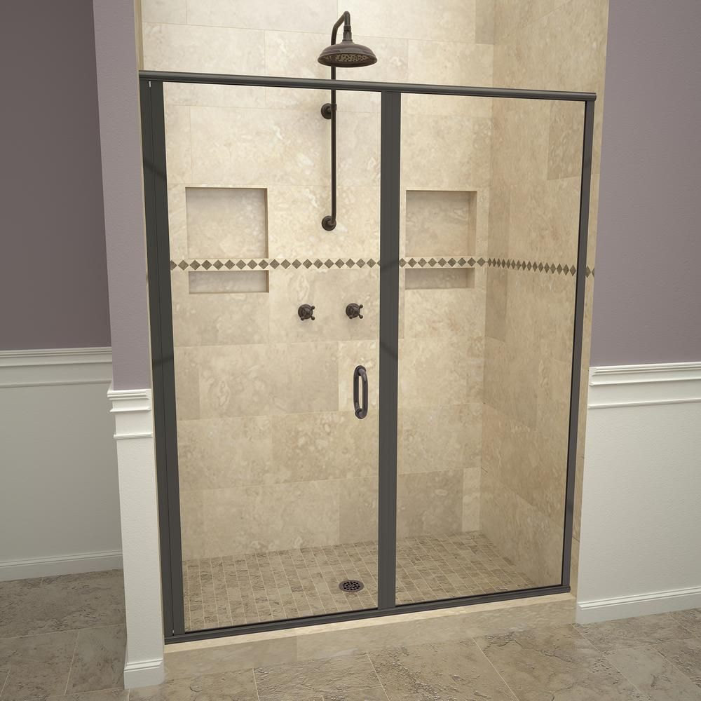 Redi Swing 1200 Series 58 In W X 68 5 8in H Semi Frameless Swing Shower Door In Oil Rubbed Bronze With Handles And Clear Glass Shower Doors Framed Shower Door Tile Redi