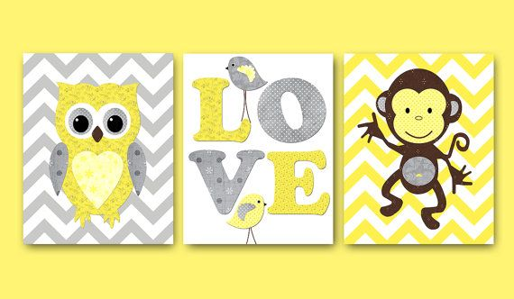 Kids Wall Art Owl Nursery Print Monkey Nursery Baby Nursery Decor ...