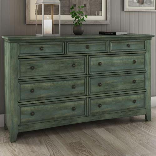 Joplin Four Poster Bed Furniture 9 Drawer Dresser Green Dresser