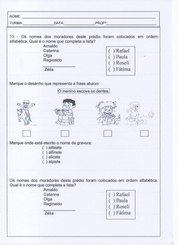 Avaliação de 1º ANO de Ensino Fundamental - Parte 3 de 3. Miriam Veiga. Alfabetização Blog. Atividades de Ensino Fundamental.