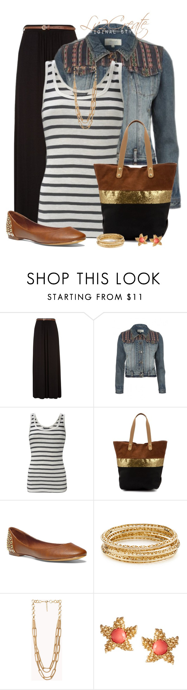 """""""Black Maxi & Flats"""" by lv2create ❤ liked on Polyvore featuring French Connection, Steve Madden, Forever 21 and Kenneth Jay Lane"""