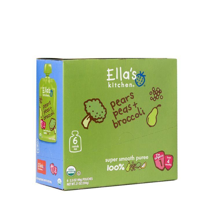 Ellas kitchen organic baby food broccoli pears and peas
