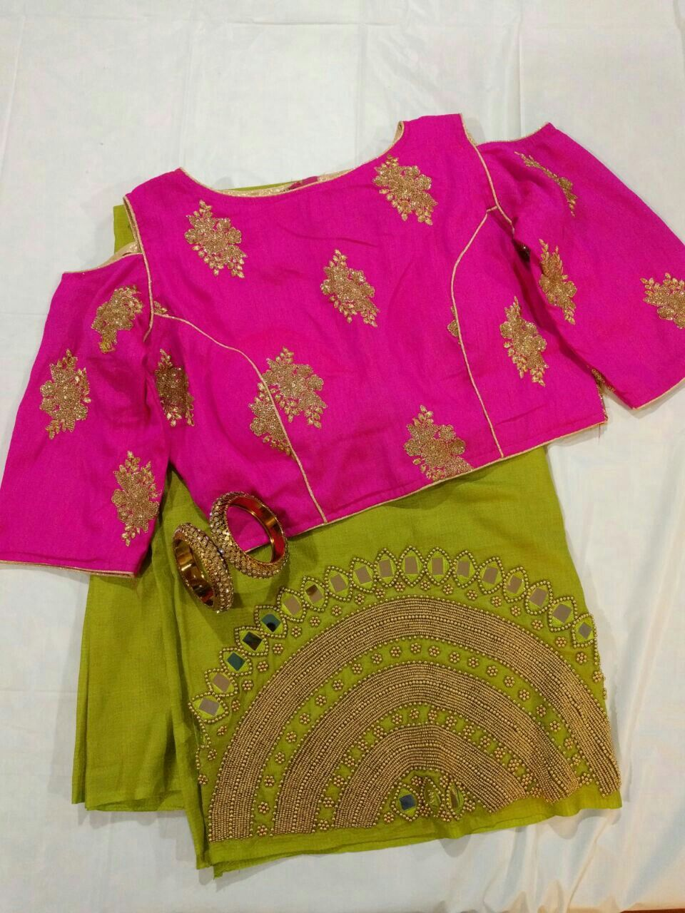 d8fcb79d9d6c9d Bead work raw silk saree with cold shoulder ready to wear designer Blouse  and jewel combo