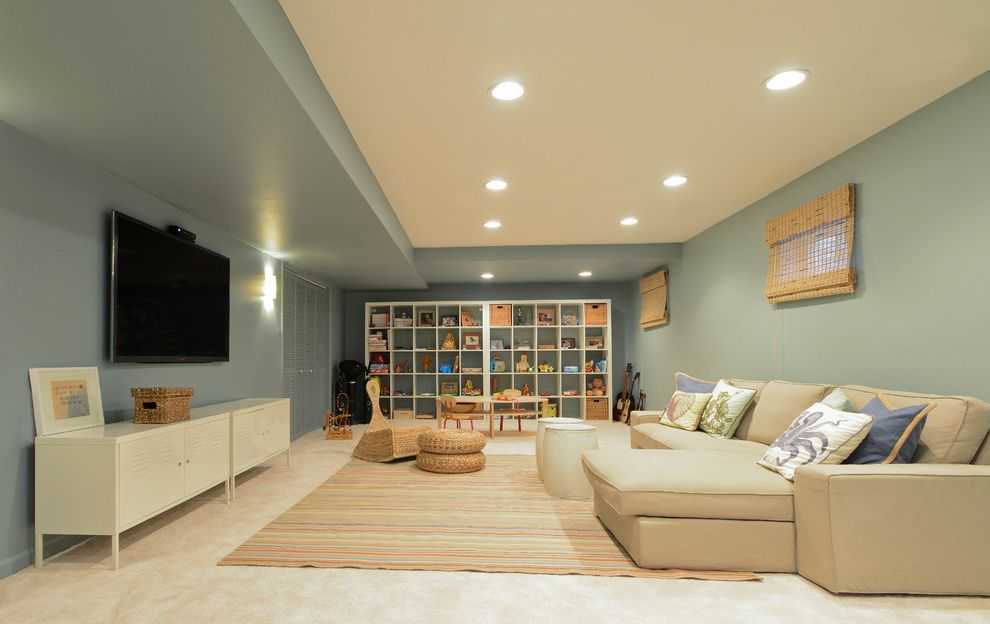 Light Blue Muted Basement Interior Design Ideas Pinterest Best Basement Design Painting