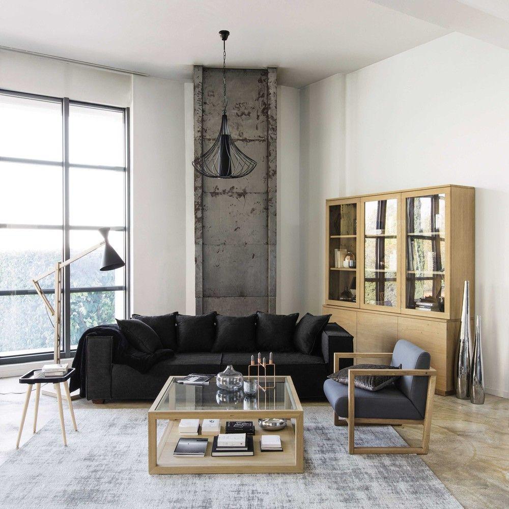 katoenen vloerkleed, grijs, 200 x 290 cm | tapis en coton, maison du