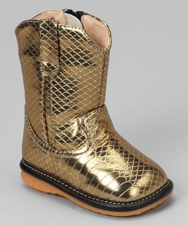 Take a look at this Pure Gold Crocodile Squeaker Cowboy Boot by Laniecakes on #zulily today!