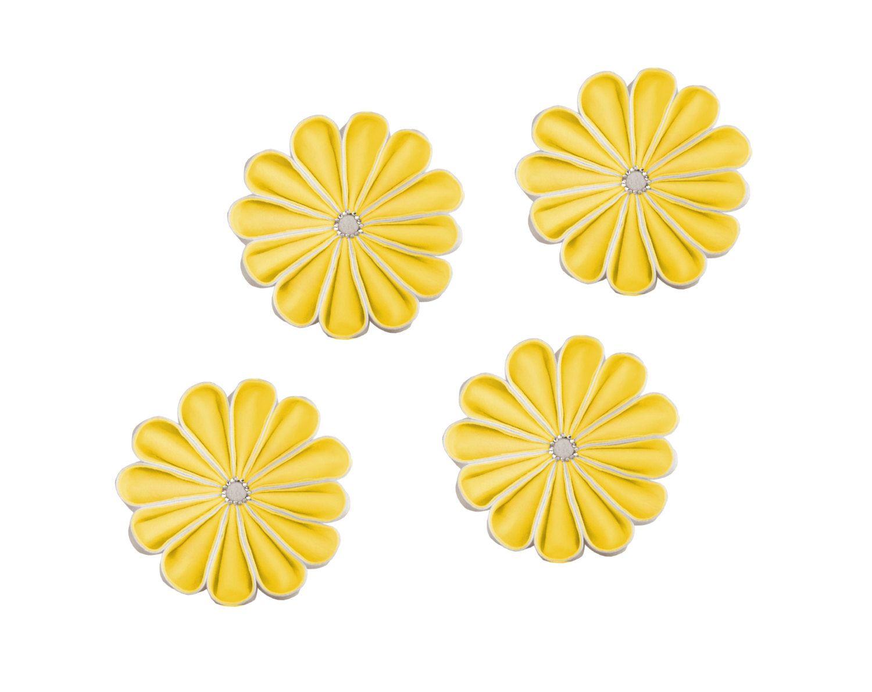 Yellow Large Kanzashi Flower Wall Art, Set of 3, Yellow White Floral ...
