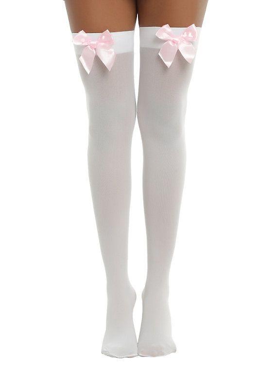 Blackheart White & Pastel Pink Bow Thigh Highs,