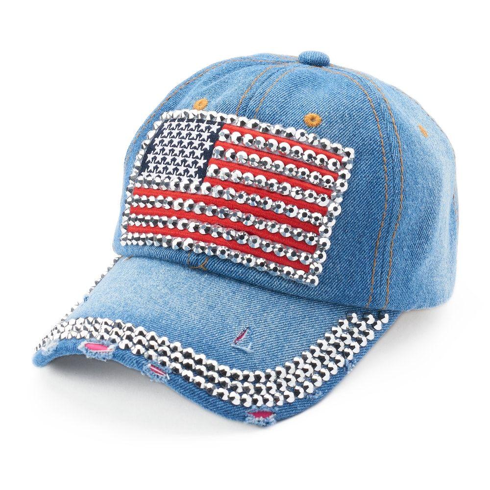 2afbfa649a8465 Women's Mudd® Bling American Flag Baseball Cap | Products | Baseball ...
