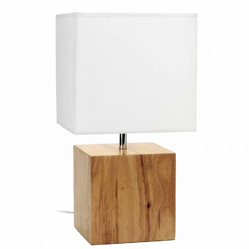 grande lampe poser avec abat jour en coton blanc et pied en ch ne naturel kube danone1 en. Black Bedroom Furniture Sets. Home Design Ideas