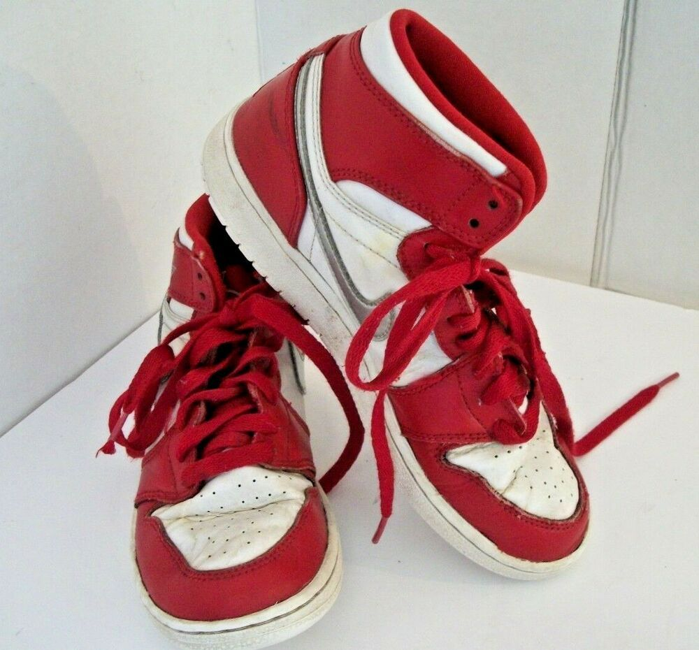 6a81f135 Nike Air Jordan Youth Size 4.5 Red And White High Top Basketball ...