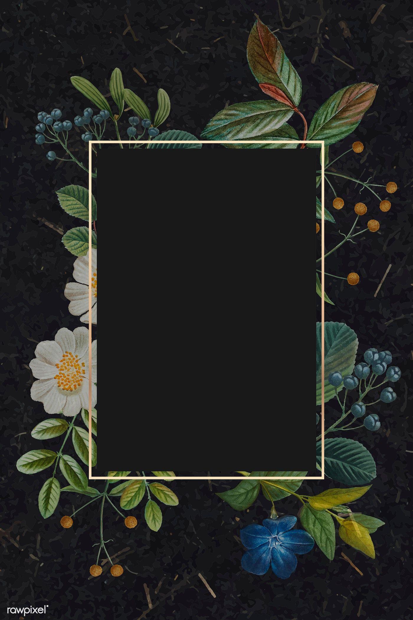 Golden Rectangle Floral Frame Vector Premium Image By Rawpixel Com Sasi Instagram Photo Frame Framed Wallpaper Photo Collage Template