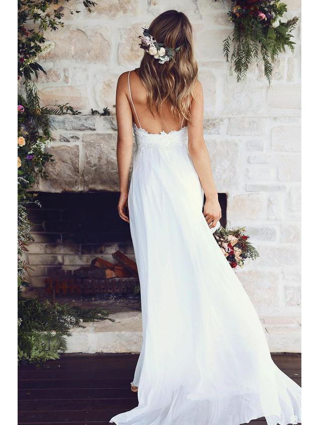 66ceba800b6d Spaghetti Strap White Chiffon Lace Appliqued V-neck Summer Beach Weddi -  SheerGirl Plus Size Wedding Dresses,Cheap Wedding Dresses, Beach Wedding  Dresses ...