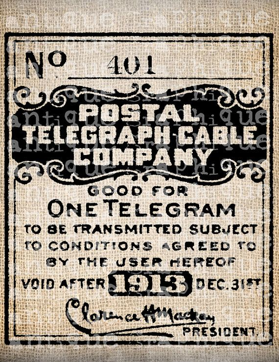 Antique Post Office Postmark Style Telegram Ad by AntiqueGraphique