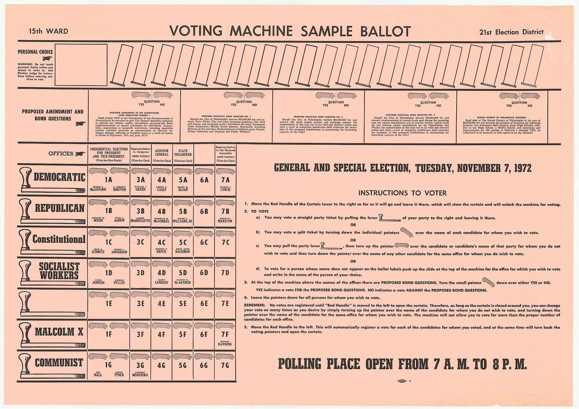 Sample ballot illustrating voting machine arrangement ...