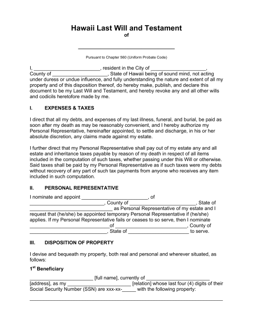 Free Hawaii Last Will And Testament Template Pdf Word Eforms Free Fillable Forms Last Will And Testament Will And Testament Templates