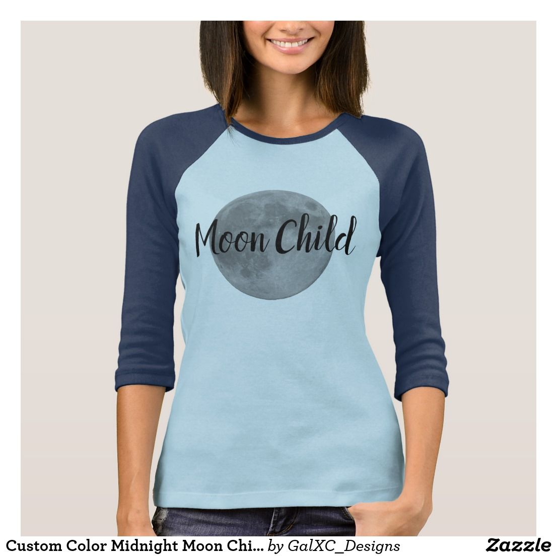 Custom Color Midnight Moon Child Blue Raglan Shirt New Items In