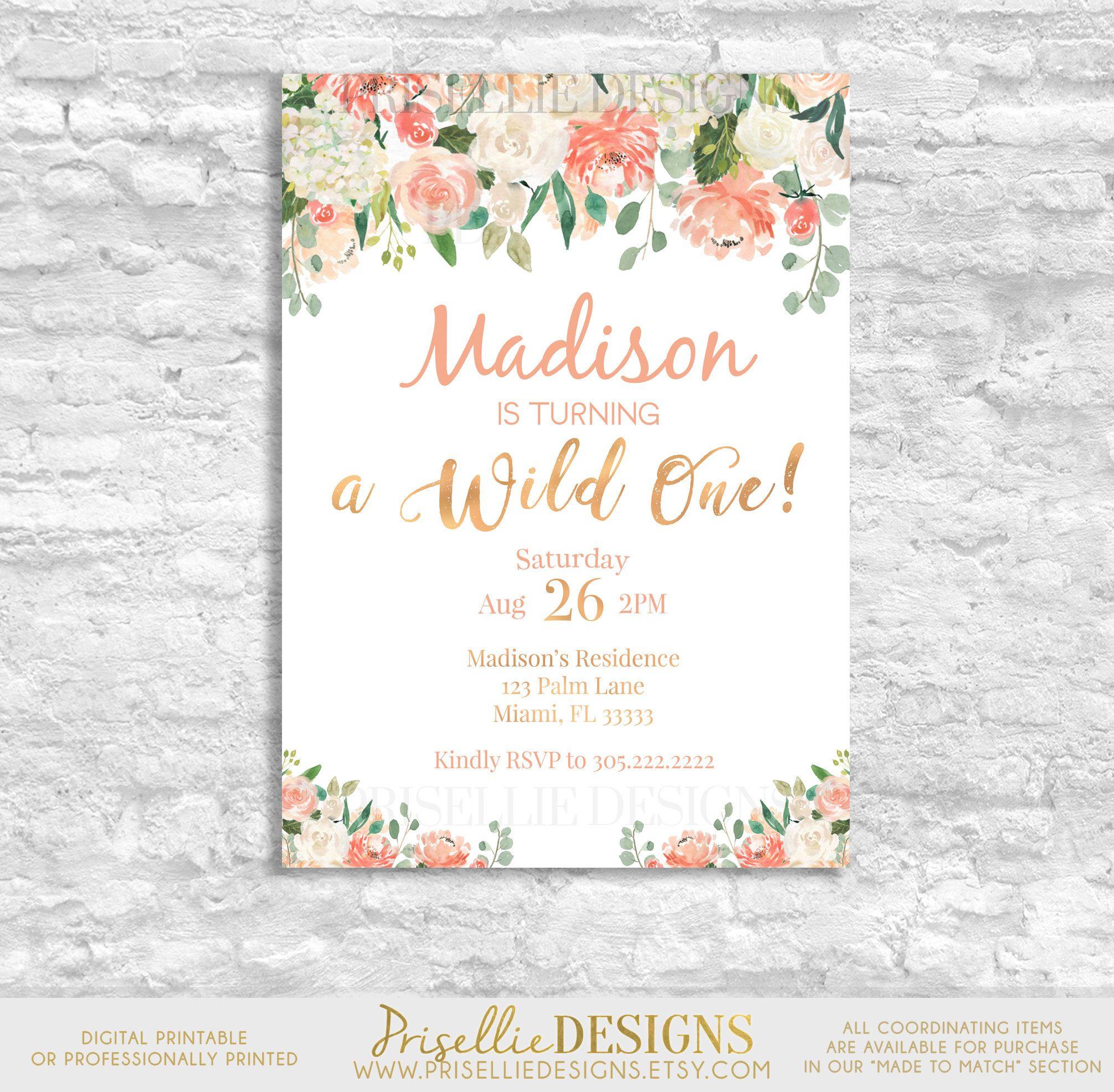 Wild One Birthday Invitation, First Birthday Invitation Girl, Pink ...