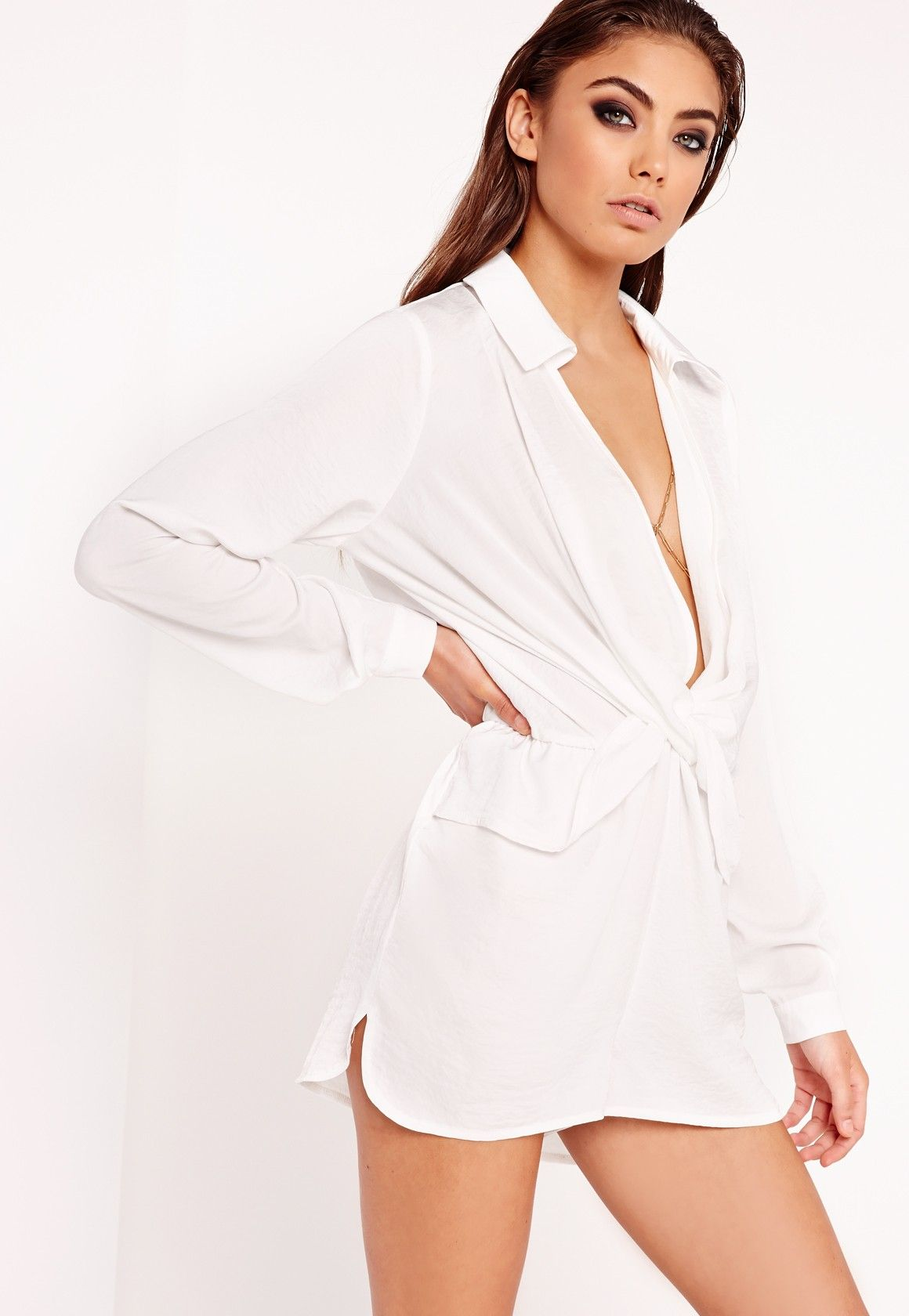 f1b1af49bc75 Missguided - Peace Love Satin Wrap Playsuit White