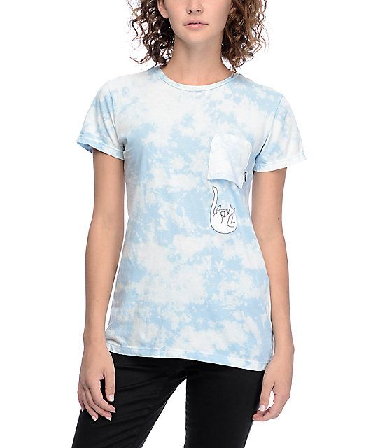 74b9750d The original kitty pocket t-shirt, now with a twist! The Falling For Nermal  sky blue tie dye t-shirt from RipNDip features Nermal himself falling out  of the ...
