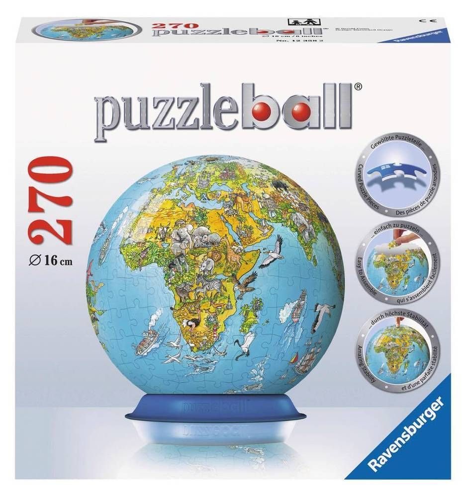 New 3d jigsaw puzzle 270 piece puzzleball illustrated world map 3d new 3d jigsaw puzzle 270 piece puzzleball illustrated world map ravensburger gumiabroncs Image collections