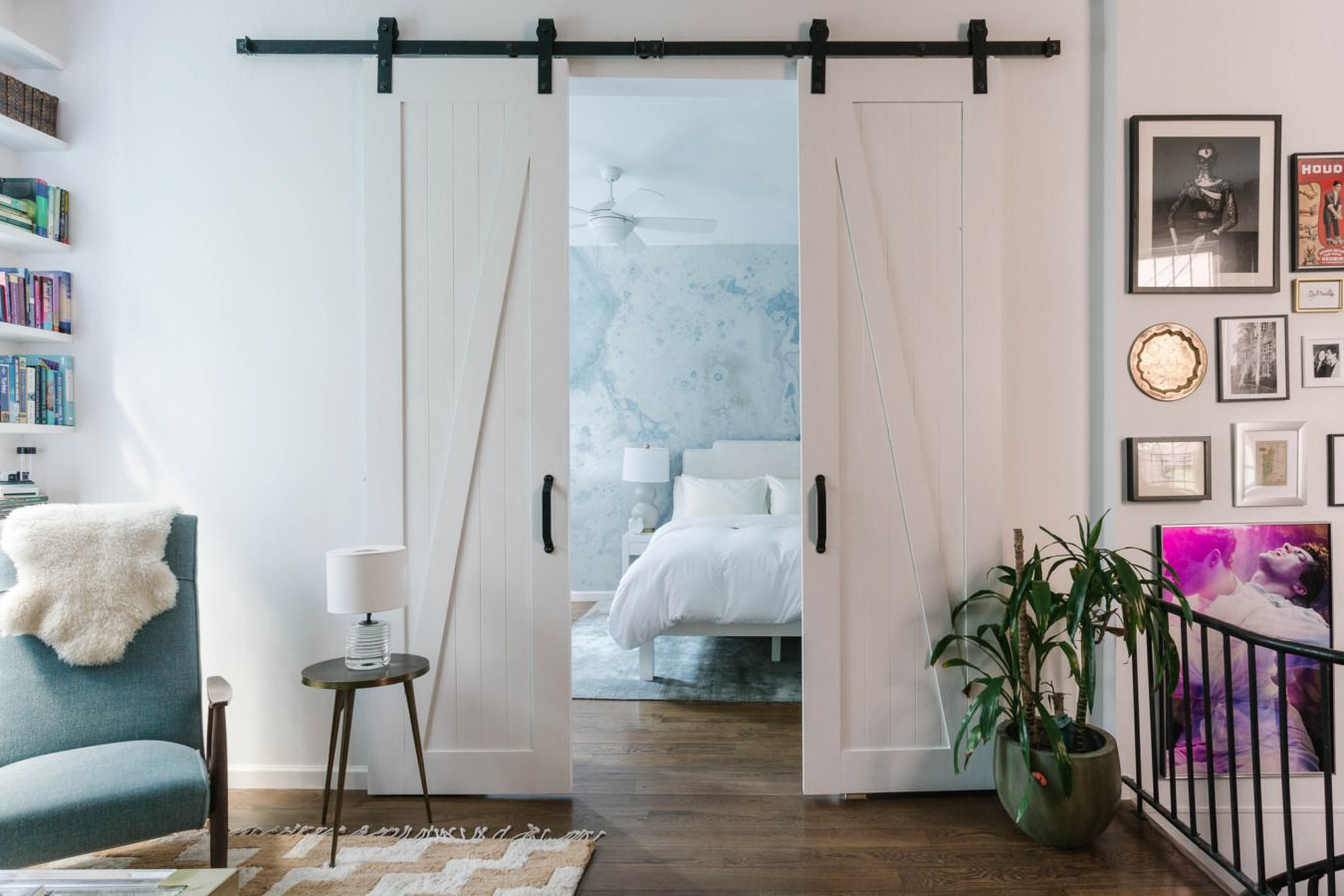 A Stylish East Village Apartment for Two Models | Barn doors, Barn ...