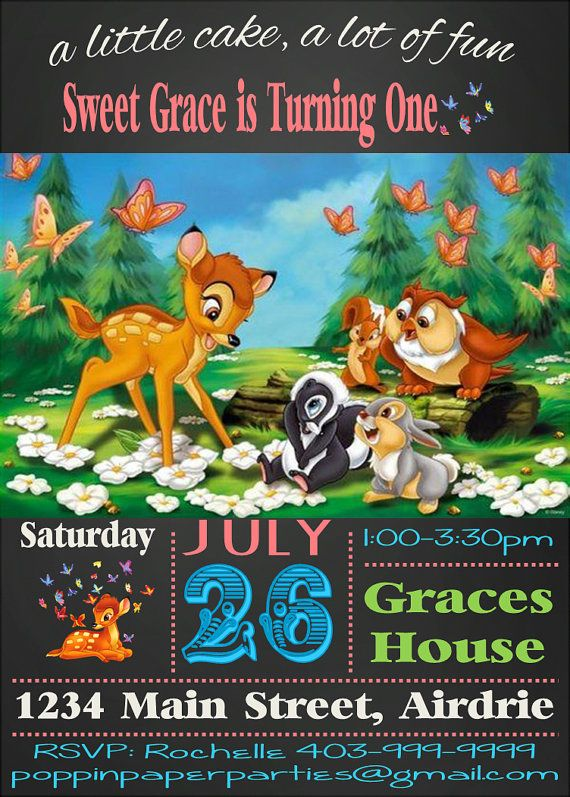 Printable Bambi Invitation Bambi Birthday Party
