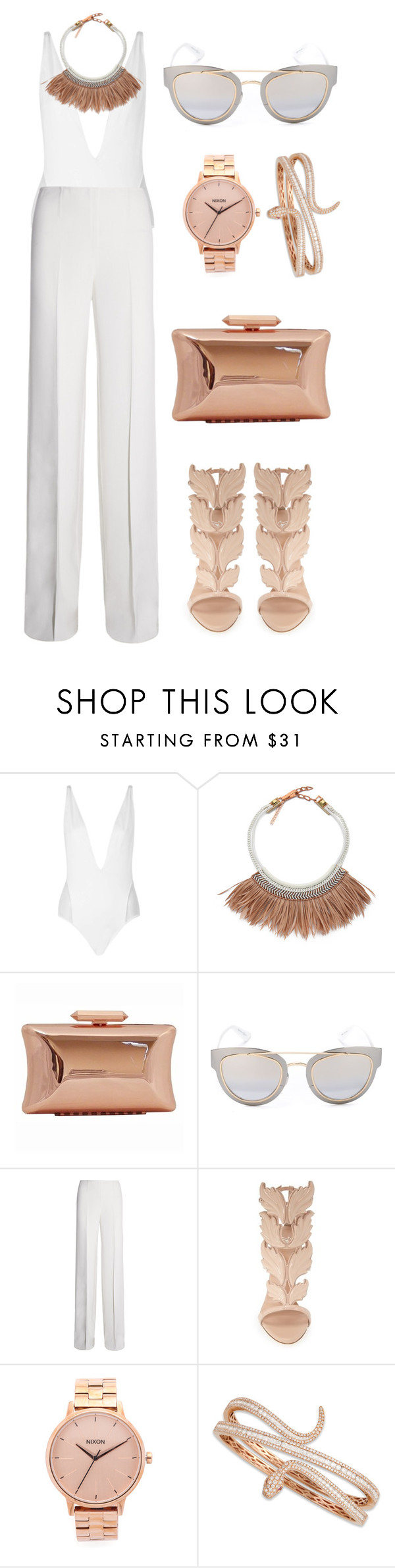"""Untitled #490"" by dontlookforme ❤ liked on Polyvore featuring Topshop, Fiona Paxton, Treesje, Christian Dior, KaufmanFranco, Giuseppe Zanotti, Nixon and Roberto Coin"