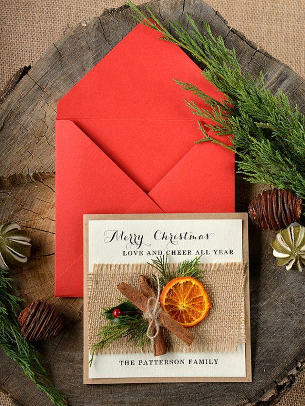 Rustykalna Kartka Swiateczna Z Pomarancza Christmas Cards Holiday Cards Handmade Rustic Christmas Cards