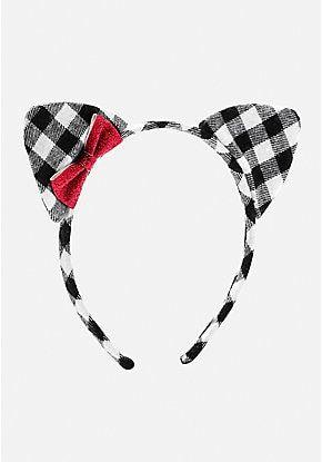 plaid cat ear headband  hair accessories headbands