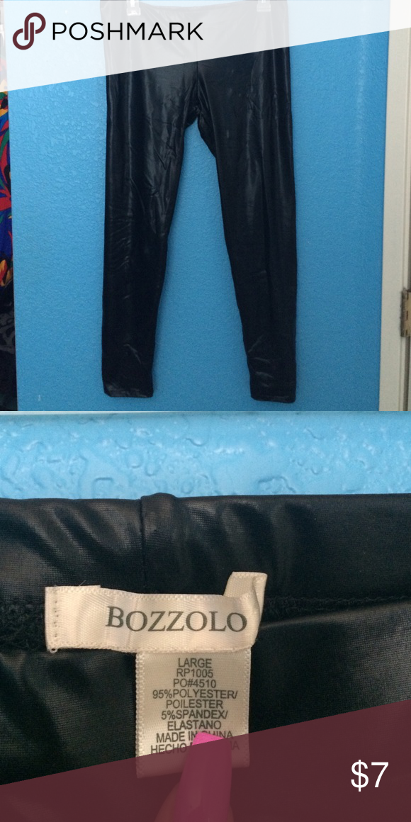 Leather leggings Leather-looking leggings. Never worn, but looks good with a dressy top for a night out. Stretchy and thin material. Bozzolo Pants Leggings