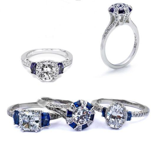 down-this-aisle:  Tacori diamond and sapphire engagement rings
