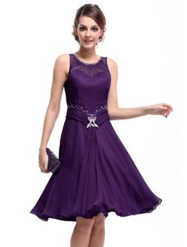 Ever Pretty Padded Rhinestones Ruffles Short Bridesmaid Dress 03521 HE03521PP12 Purple 10US