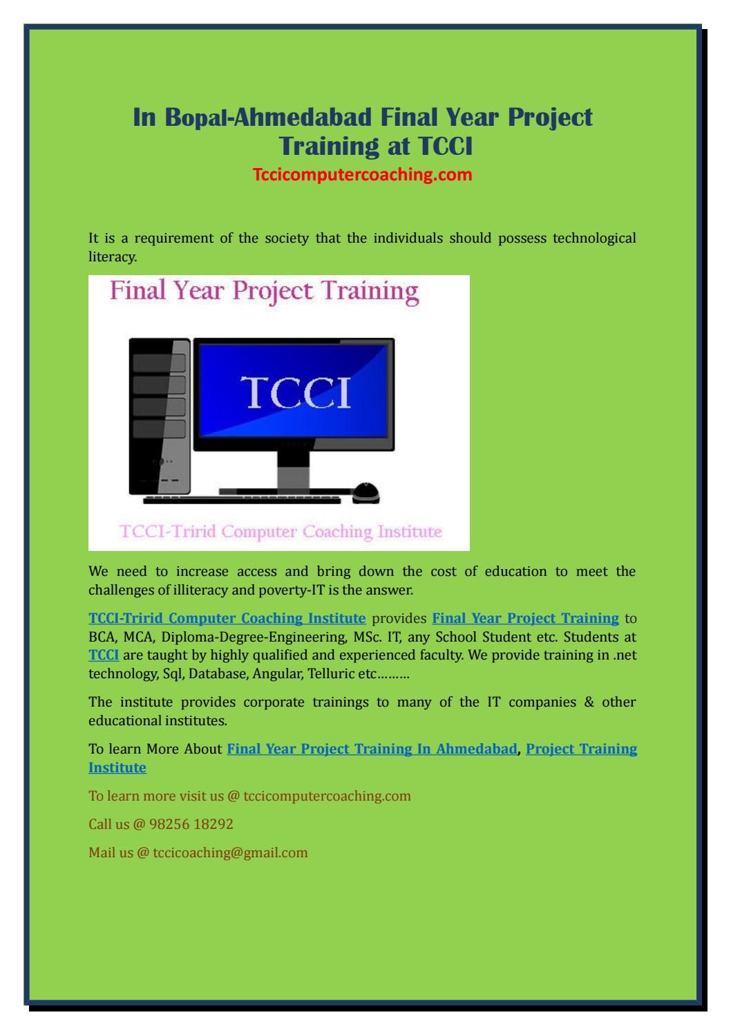 In bopal ahmedabad final year project training at tcci