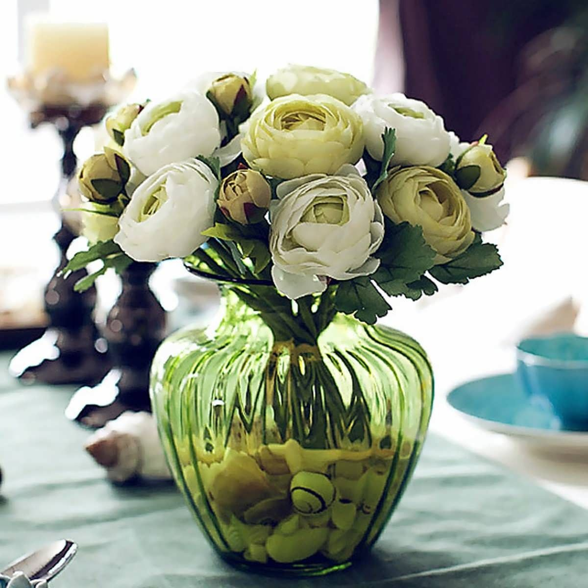 Description Artificial Silk Flower Peony Bouquet 9 Heads