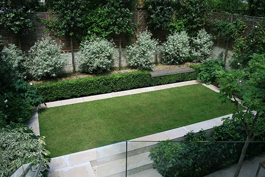 Crisp rectangular lawn shape surrounded by smooth ...