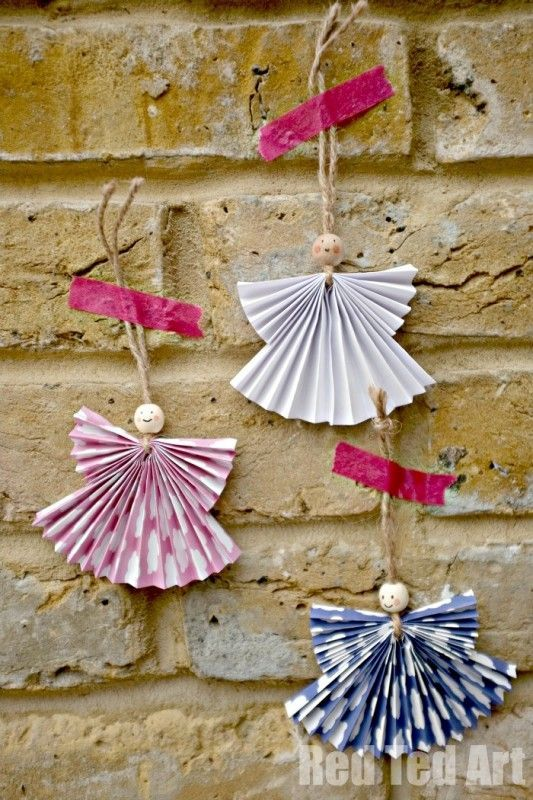 Paper Angel Ornament DIY  Angel crafts Paper fans and Angels