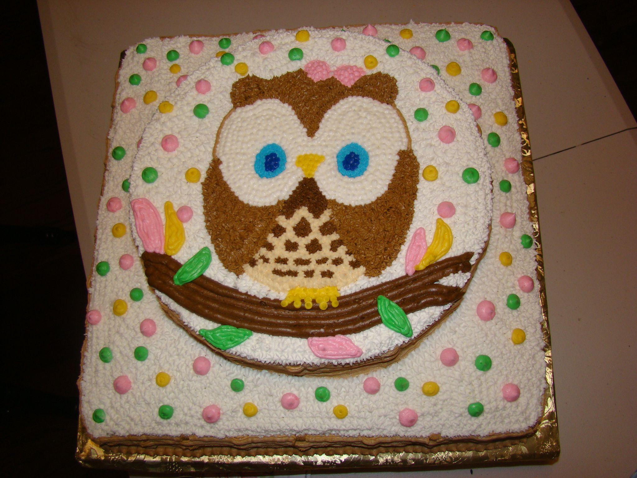 Owl Cake Out Of Buttercream Icing