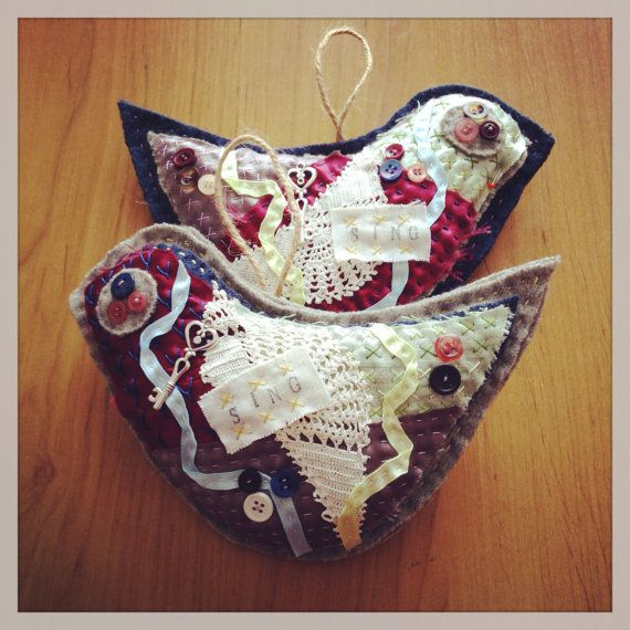 RESERVED for Tina KT tattered bird heart owl by gonerustic