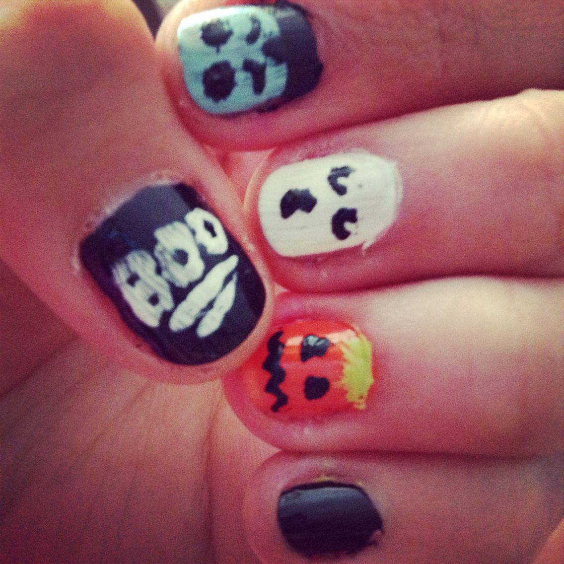 Easy cute halloween nail art design, ghost, vampire and pumpkin ...
