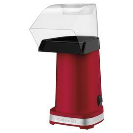 """Hot air popcorn maker with a butter warming tray. Makes 15 cups of popcorn in under 3 minutes.  Product: Popcorn makerConstruction Material: Stainless steel and glassColor: RedFeatures:  Makes up to 15 cups of popcorn in under 3 minutesCord storage and easy on/off switchRemovable chute Dimensions: 12.7"""" H x 5.5"""" W x 8.3"""" DCleaning and Care: Dishwasher safe"""