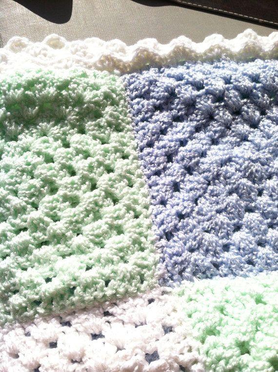 Baby Blanket...Shower Gift...Lapghan. FREE BOOTIES by GrammaLeas, $65.00